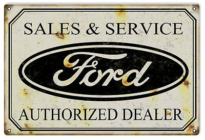 """Reproduction Ford Sales & Service Authorized Dealer Sign. 12"""" x 18"""""""