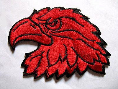 Red Hawk Eagle Head Motorcycles Biker Embroidered Iron on Patch Free Shipping