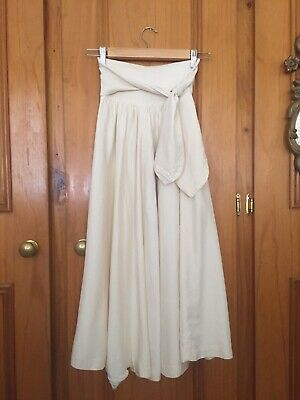 Vintage 50s Style Trent Nathan 100% Silk Cream Full Skirt With Sash XS