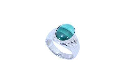 92.5 Hallmarked Sterling Silver Men's Ring, Natural malachite Stone Ring size 10