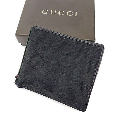bd028a2618169e Gucci Wallet Purse Bifold G logos Black Silver Woman unisex Authentic Used  Y7173