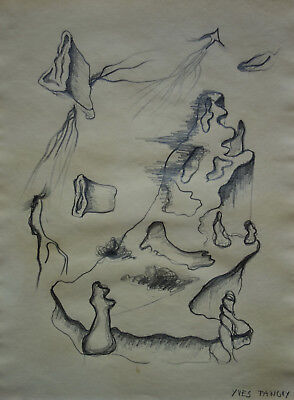 Rare Surreal drawing, signed, Yves Tanguy with docs, Dali Miro Ernst Picasso era