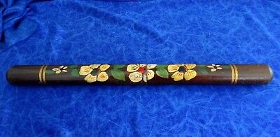 Antique Wooden Knitting Needle Holder Handpainted Large 52Cm Long -Comes Apart
