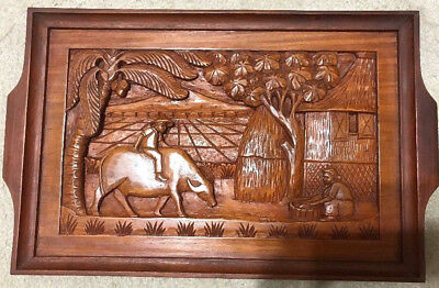 VINTAGE  Hand Carved raised picture Wood Tray ,Very detailed ,20''x12''