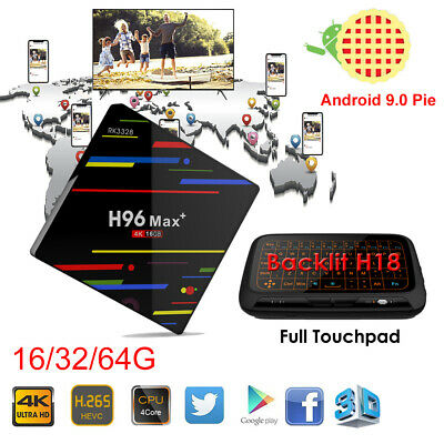 2019 Android 9.0 H96 Max+ Smart TV Box 16/32/64G Quad Core WIFI 4K+Keyboard H18+