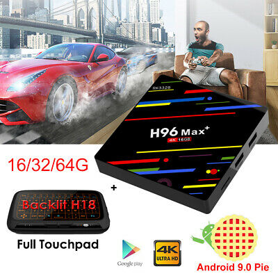2019 H96 Max+ Android 9.0 16/32/64G Quad Core WIFI 4K Smart TV Box+Keyboard H18+