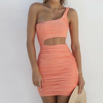 Ruched Casual One Shoulder Bodycon Sexy Sleeveless Cut Out Party Mini Dress