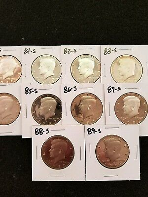 1980-S-1989-S,,,,,10,,,, Us Proof Kennedy Half Dollars From Us Proof Set, Lots