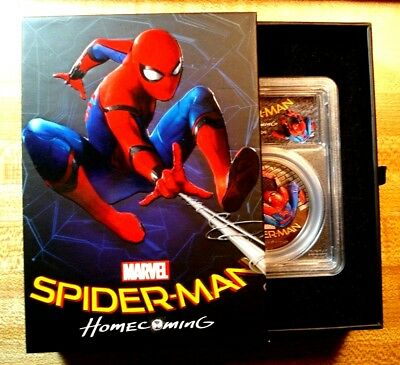 2017 $5 Cook Islands SPIDER-MAN HOMECOMING 1oz .999 Silver Coin PCGS PR69DCAM FD