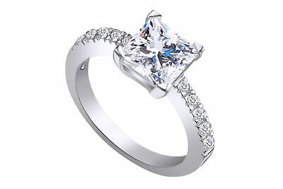 1.25 Ct Princess Cut Cubic Zirconia 925 Sterling Silver Engagement,Wedding Ring