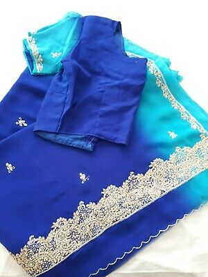 Ladies Embroidered Georgette/Chiffon Sari with Blouse