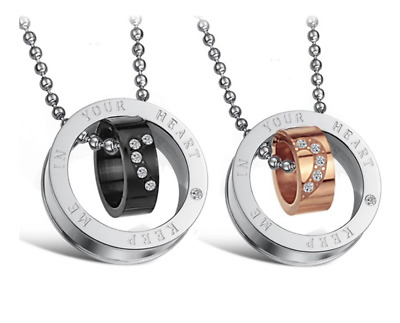 Love Couple Necklaces stainless steel Love heart Double Circle design+free chain