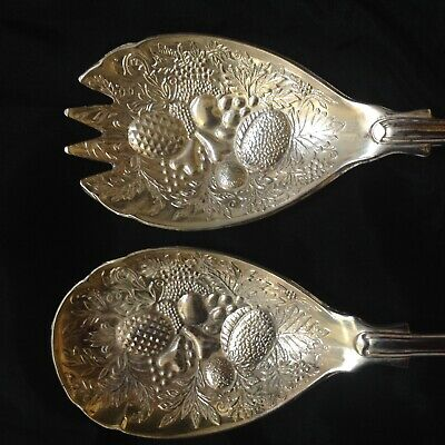 Antique English Silver Plated Fruit / Salad Servers Vgc