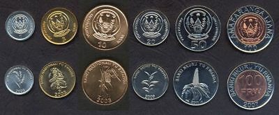 RWANDA COMPLETE COIN SET 1+5+10+20+50+100 Francs 2003-2007 FIRST ISSUES UNC LOT