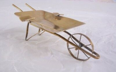 "Vintage Antique Brass Ashtray Trinket Holder Wheelbarrow Cart Wagon 6"" Colombia"
