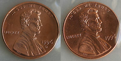 1996 P and D Lincoln Cent 2-Coin from US Mint Set UNC Cello One Cent Penny Set
