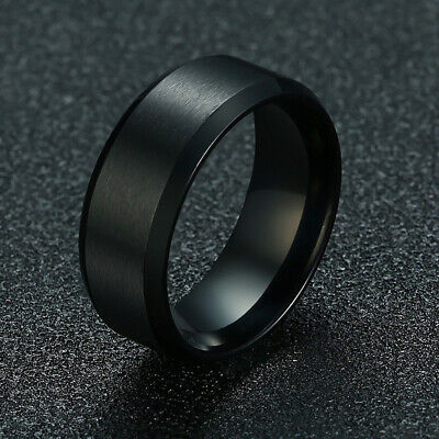 Black Brushed Matte Band 8MM Stainless Steel Men's Wedding Party Ring Size 5-14