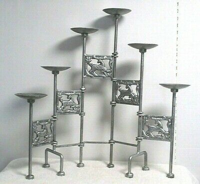 silver metal Wrought Iron 6 Pillar Candle Holder Candelabra Stand Table Mantle