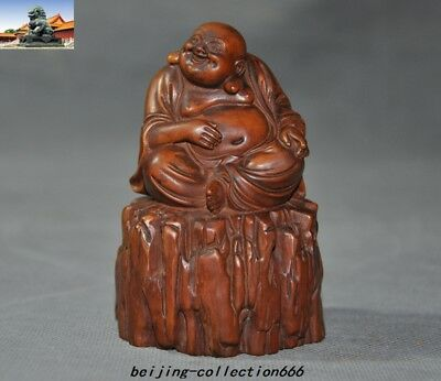 "4""Old Chinese Boxwood Wood Hand-carved wealth Happy laugh Maitreya Buddha statue"