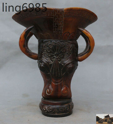 Marked Old Chinese Ox horn carved Ox head ancient Zun Wine vessel Cup wineglass
