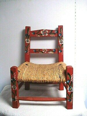 Vtg Antique Child size Wood Wicker rush seat folk Art Kids Doll Chair red floral