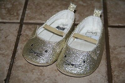 f95775b5bd2d Carter's Gold Glitter Kitty Carter's Mary Jane Crib Shoes 3-6 months S-631