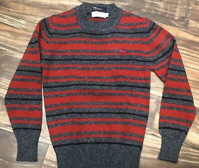 VTG Boys Size 12 Izod Lacoste 1970's Red Gray Striped Wool Sweater Alligator