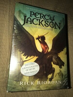 Percy Jackson and the Olympians 5 Book Boxed Set Rick Riordan NEW Bonus Poster