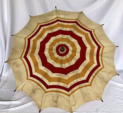 "Vtg French? Umbrella Parasol Textile Fabric Stripes Wood Handle Child Size? 27""D"