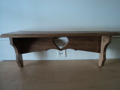 "Vintage Wood Wooden Wall Display Shelf with Heart Cutout 27"" x 10"""