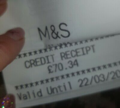 Marks And Spencers Credit Note £70.34