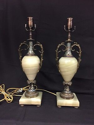 Pair of Antique French Champleve Enamel & Onyx Table Lamps Bronze