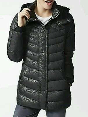 Adidas NEO AOP Down Quilted Puffer Coat Jacket Woman Small AB3802 Black NEW $150