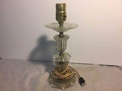 Vintage Pressed Glass Crystal Vanity Boudoir Bedroom Table Lamp