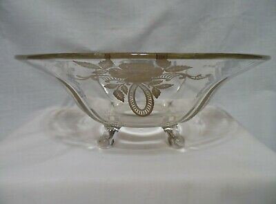 Large Vintage Sterling Silver Overlay Glass Centerpiece Footed Bowl 12""