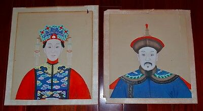 Two Old or Antique Chinese Paintings on Paper Emperor Empress Hand-Painted