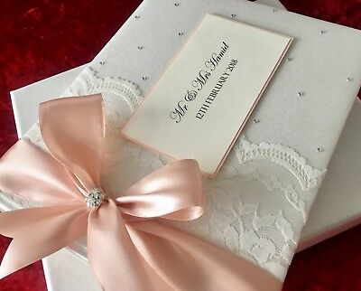 Vintage Personalised Boxed Lace Wedding LUXURY Blush Pink Guest Book Large