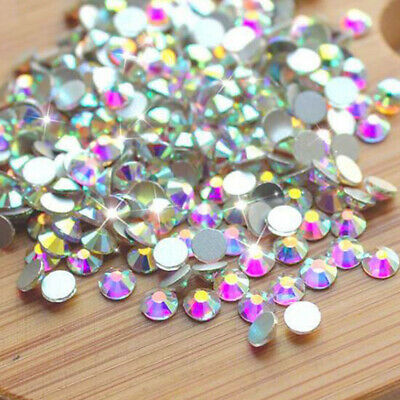 1440pcs Crystal AB Non Hotfix FlatBack Rhinestones Nail Art Decoration DIY