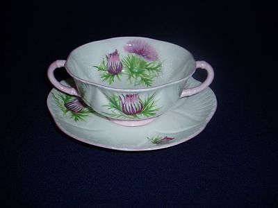 Shelley China England Thistle Cream Soup Bowl & Liner Free US Shipping #2