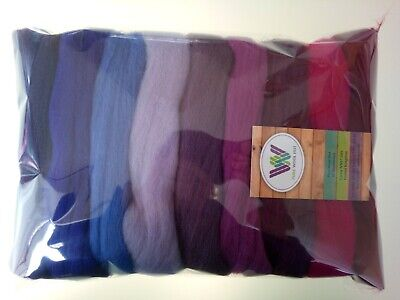 Purple set* Pure Merino Wool for Needle and Wet Felting packs of 30, 60 or 90 g