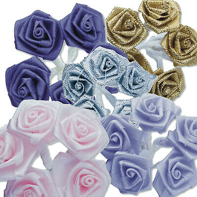 NEW 144 PACK 20mm RIBBON ROSES ON A STEM CRAFT FLOWERS WEDDING BOUQUET