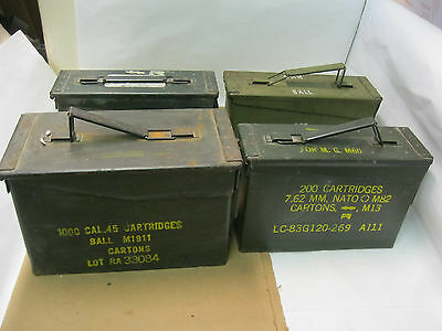 Lot of 4 Ammo Boxes/Cans - 7.62mm 200 Cartridge - 1000 CAL.45 Cartridges (D5)