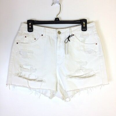 ea6d53d742 Topshop Moto Ripped Mom Denim Short Shorts Women's Size 12 White High  Waisted