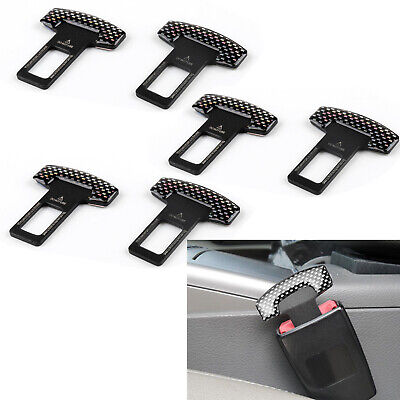 6PCS Universal Carbon Fiber Car Safety Seat Belt Buckle Alarm Stopper Clip Clamp