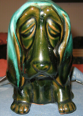 Vintage Blue Mountain Pottery Basset/Blood Hound Dog Coin Bank