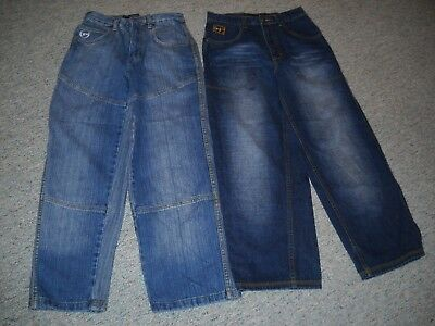 2 Pairs Boys Size 12 Reg. Phat Farm Jeans Lot~Cool Embroidered Back Pockets~Vgc