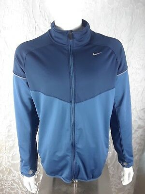 5867b6b62 Men's Nike Track Jacket Dri Fit Full Zip Thumb Holes Size Large Navy Blue  EUC