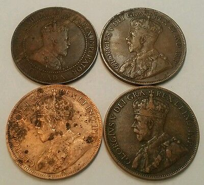(4) Canadian Large One Cents 1910 1915 1916 1918 Higher Grades! Canada 1C #4