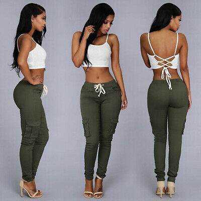 Europe and America Hot Fashion Women's Multi-bag Drawstring Tie Casual Pants
