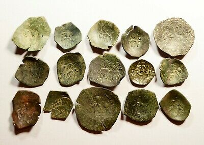 Lot Of 15 Ancient Byzantine Cup Coins - 061
